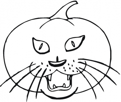 Cat and pumpkin coloring page