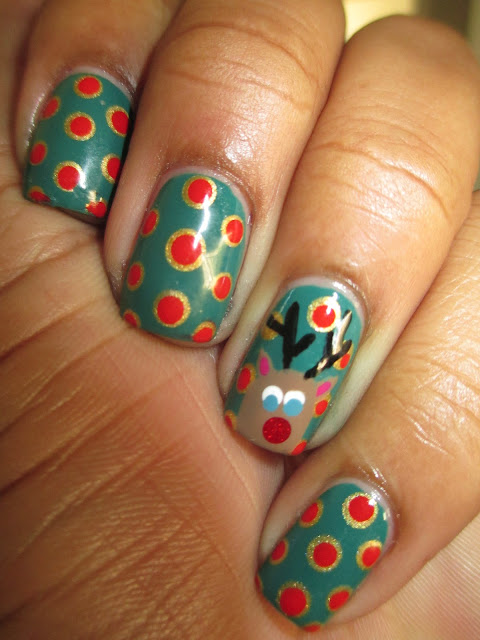 Christmas, Rudolph nails, polka dot, nail art, nail design, mani