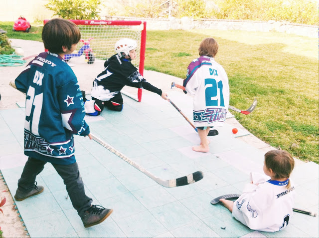 backyard game of hockey