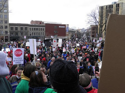 shot of section of pro democracy protest in Wisconsin