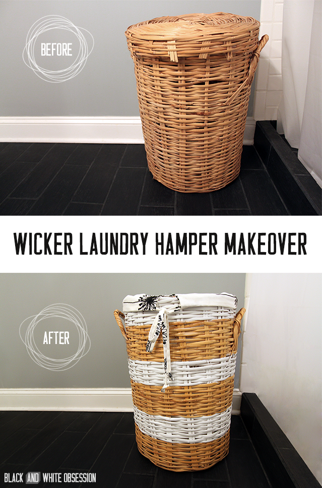 Wicker Laundry Hamper Makeover Before and After | www.blackandwhiteobsession.com