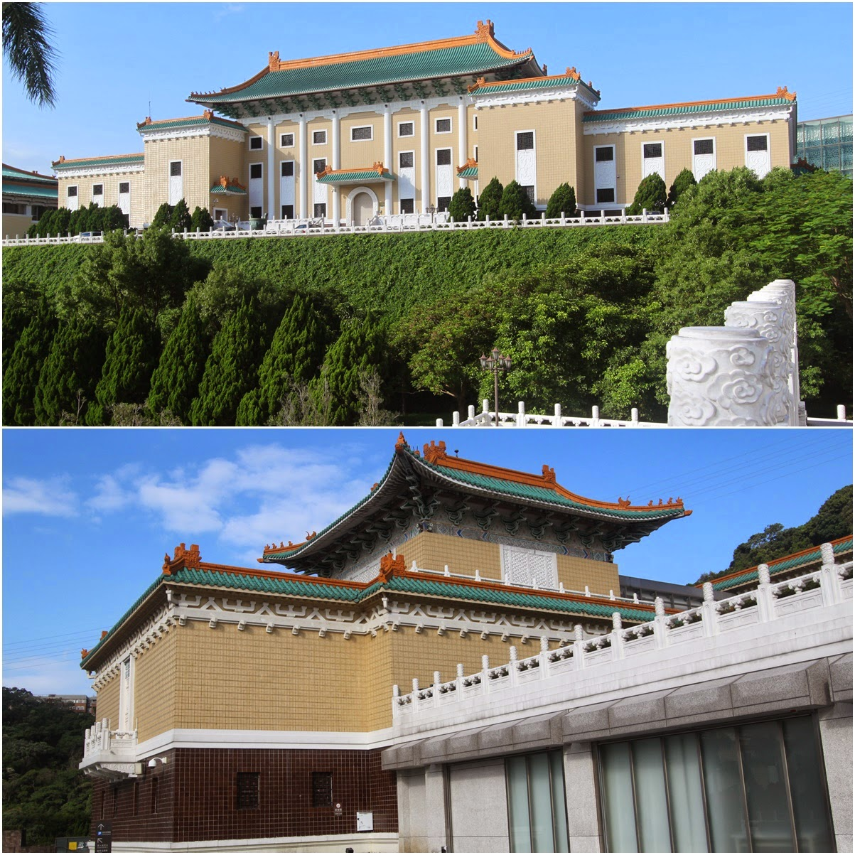 Other buildings can be seen nearby the main building of National Palace Museum in Taipei, Taiwan