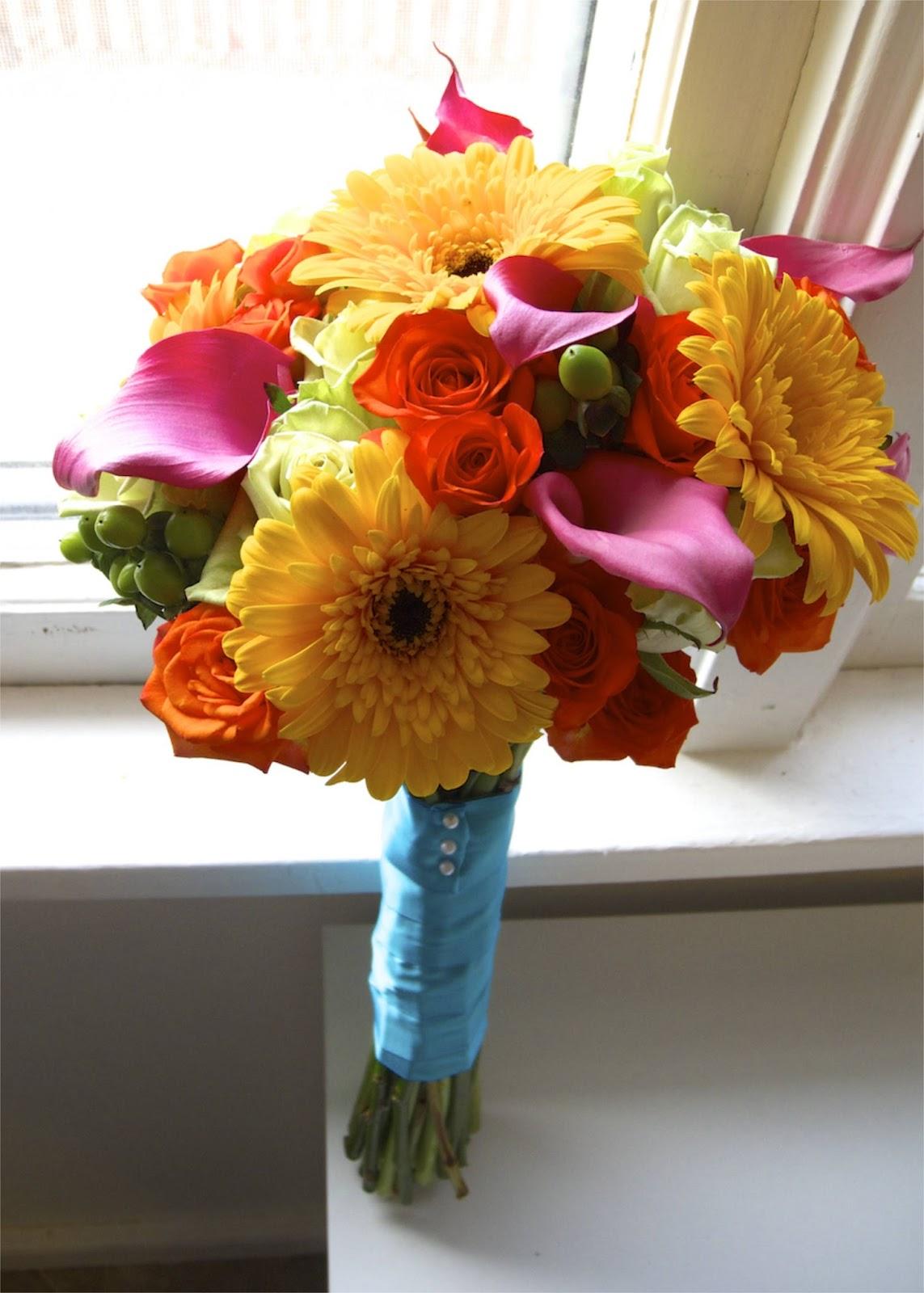 The flower girl blog bright summer wedding flowers for Bright wedding bouquet