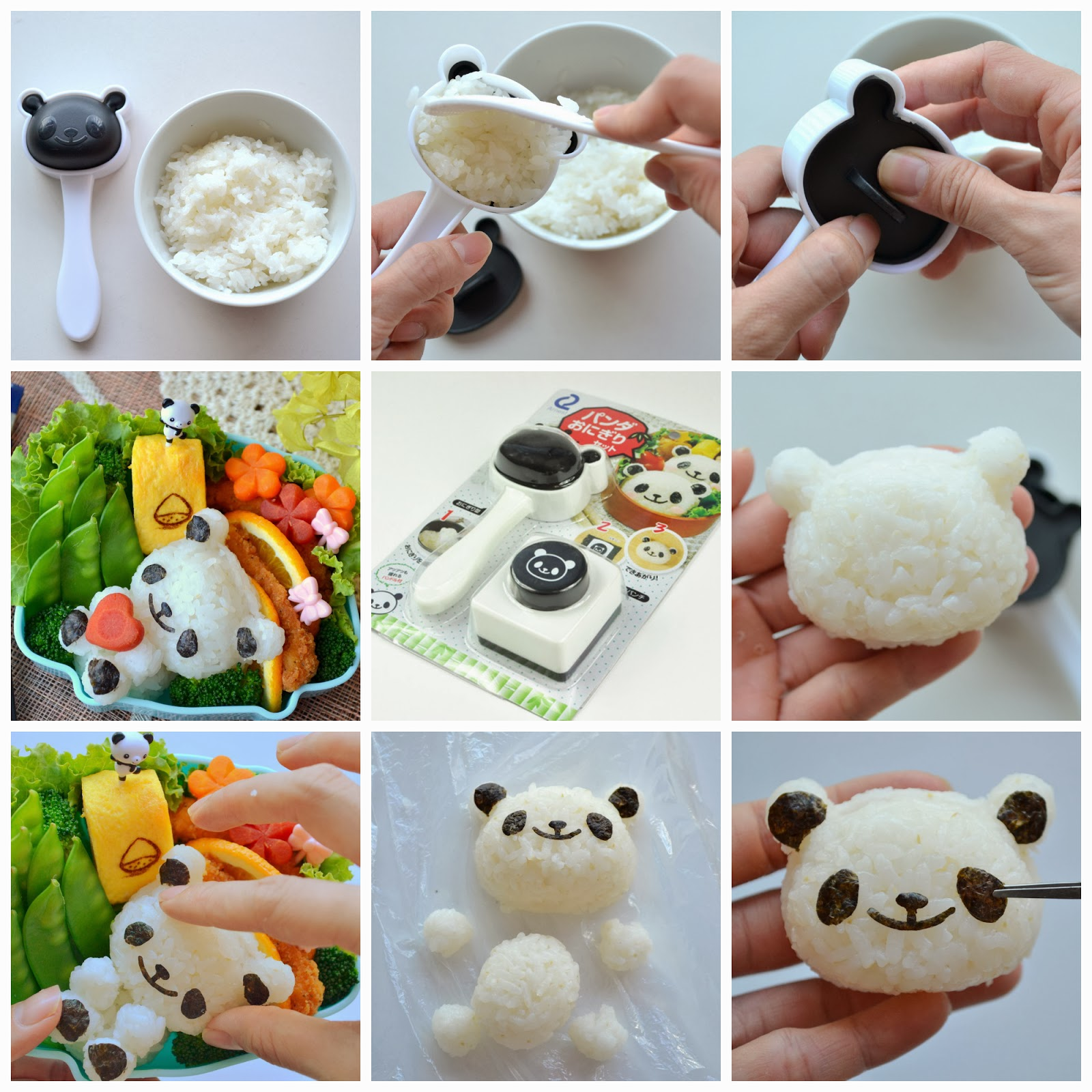 tutorial for panda onigiri set for bento little miss bento. Black Bedroom Furniture Sets. Home Design Ideas