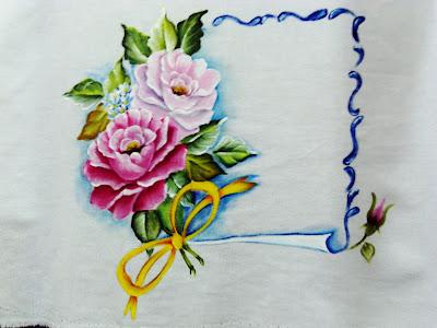 """'pintura de pergaminho com rosas"""""""