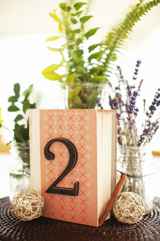 Sepia smiles wedding decor ideas table numbers for Antique books for decoration