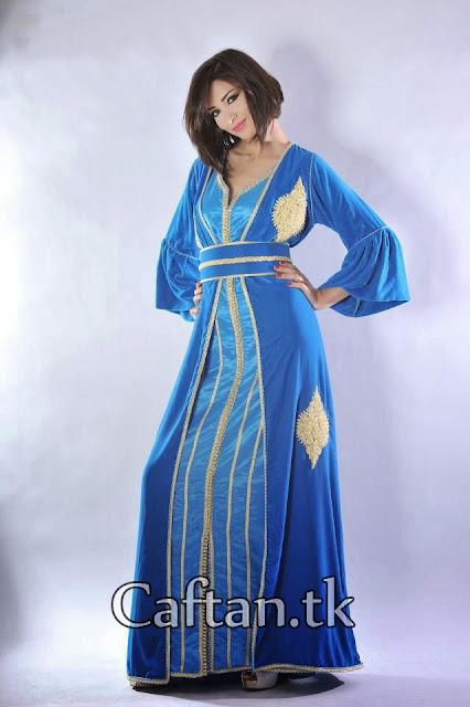 Caftan bleu haute couture deux pièce