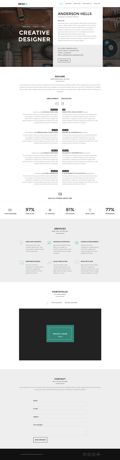 Onepage Resume Bootstrap3 Template