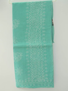 Lucknowi Chikan Green Cotton Saree