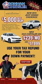 Specials on the 2015 Jeep Grand Cherokee and 2015 Chrysler 200!