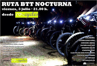 Punta Umbría alberga la Ruta BTT Nocturna Re-cycles
