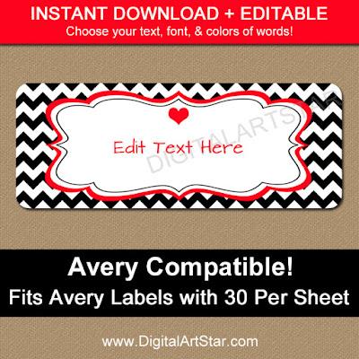 editable valentine address label template