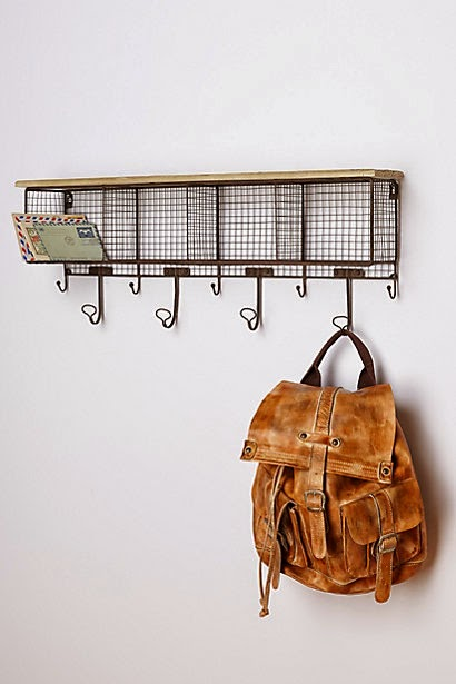 Anthropologie wire cubby coat rack