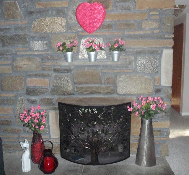 Valentine's Day Decor fireplace
