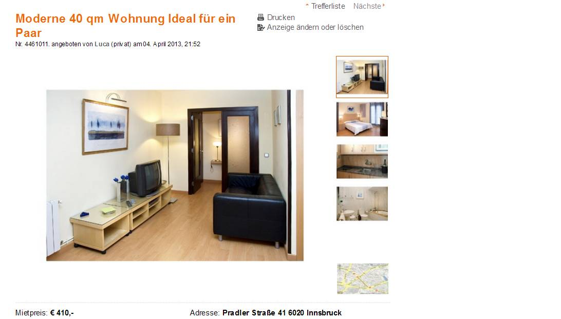 Moderne 40 qm wohnung ideal f r ein paar pradler stra e 41 for Wohnzimmer 40 qm