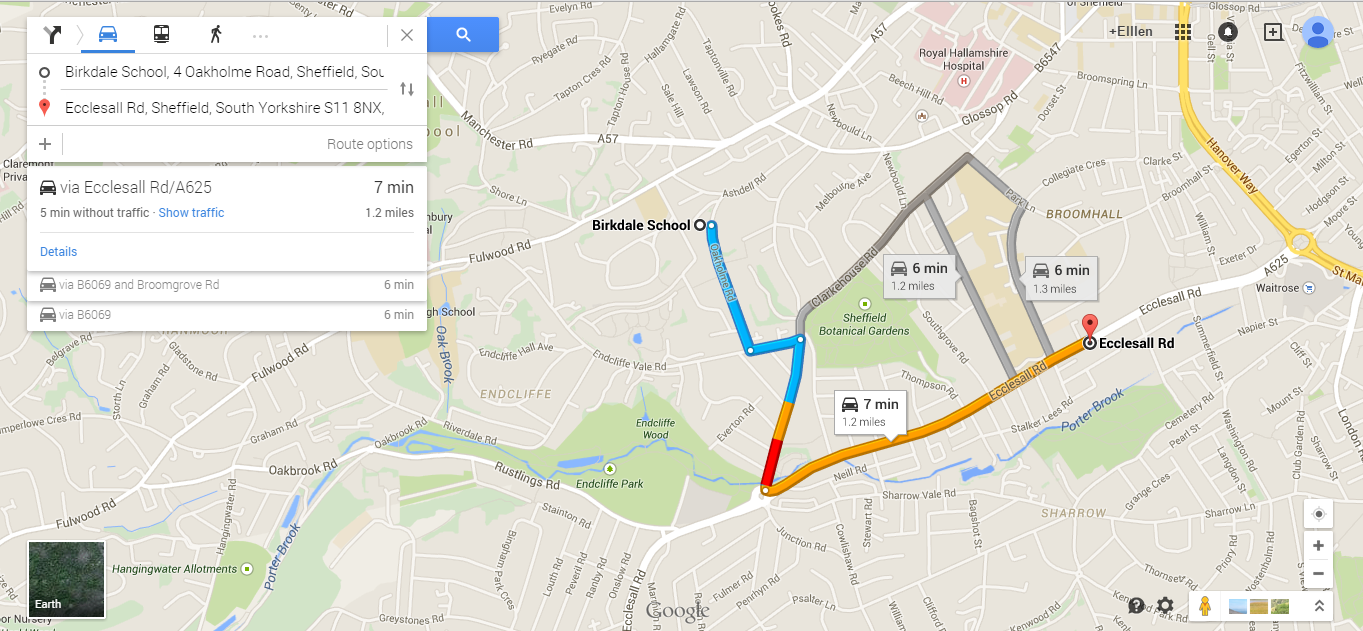 the distance from ecclesall road the pick up point to the location birkdale school