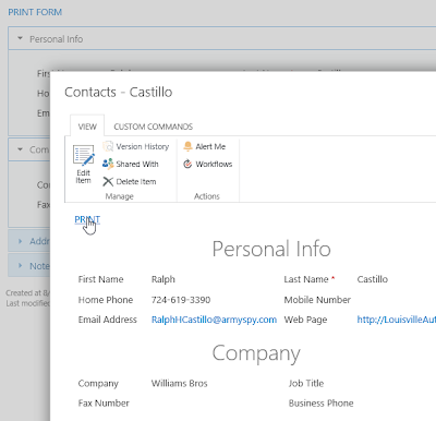 SharePoint forms for printing