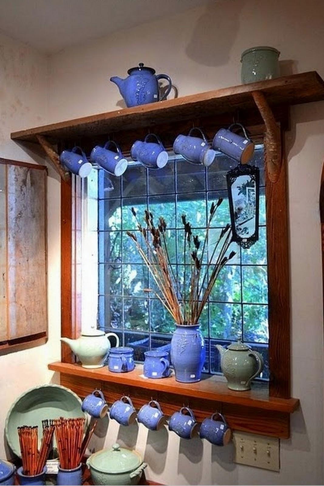 #31809A Toques e Retoques: Prateleiras na janela da cozinha #1 42 Janelas De Vidro Cozinha