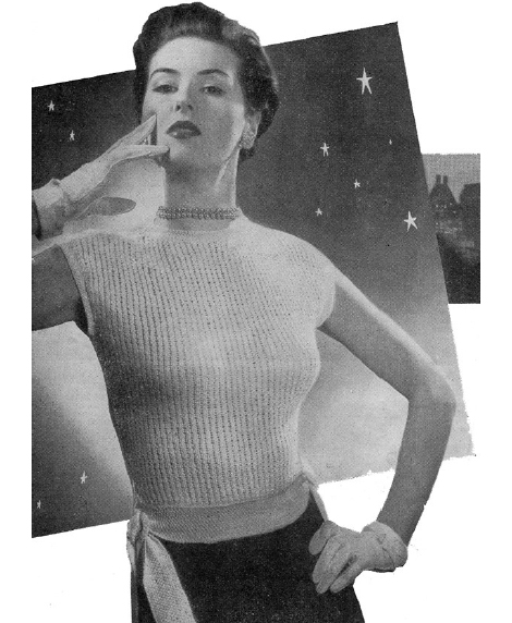 Free 1950's Knitting - Woman's Jumper with Tie Waist pattern