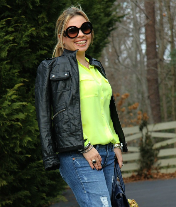 Nordstrom Collection B Faux Leather Jacket, Sold Denim Distressed Boyfriend Jeans, J Crew Blythe Blouse in Silk, 3.1 Phillip Lim Pashli Satchel, Prada Baroque Round Sunglasses, Bracelets: my own, and TJ Maxx
