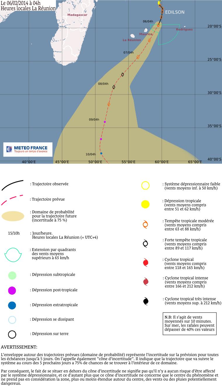 Trajectoire de la tempête tropicale modérée Edilson