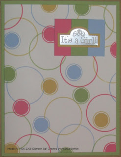 Girl baby card with stamped and punched circle background.