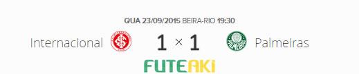 O placar de Internacional 1x1 Palmeiras pelas quartas de final da Copa do Brasil 2015