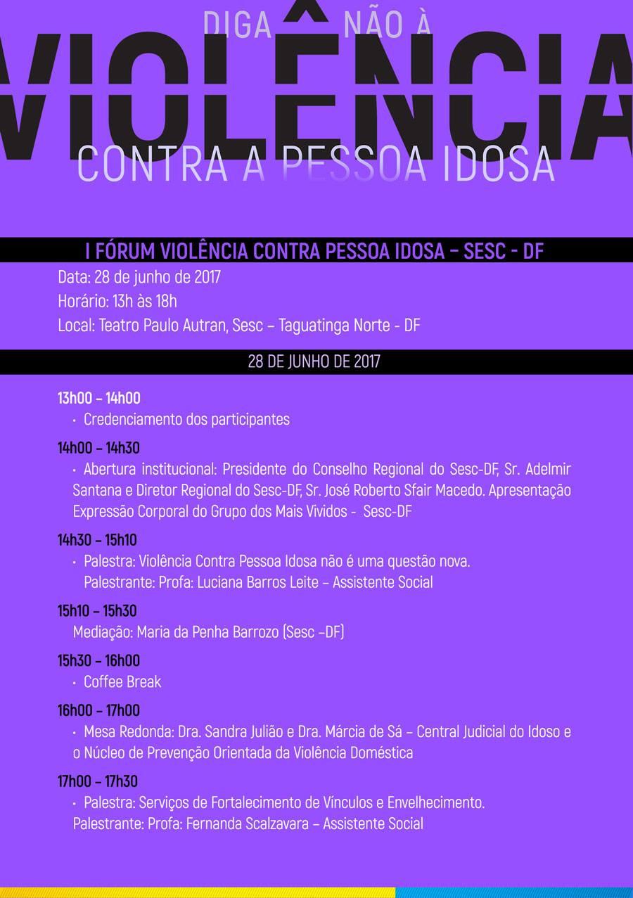 """Participe do """"I Fórum Violência contra Pessoa Idosa"""" - Sesc-DF"""