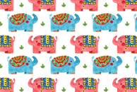 The Elephant Watercolor Pattern by Haidi Shabrina
