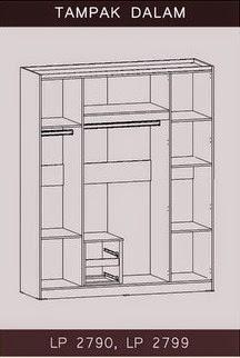Tampak Dalam Lemari Pakaian 4 Pintu Bougenville Series Graver Furniture