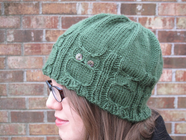 April Sprinkles: Knit green owl hat
