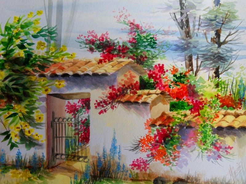 Im genes arte pinturas paisaje decorativo pintado en acuarela for Comprar cuadros bonitos