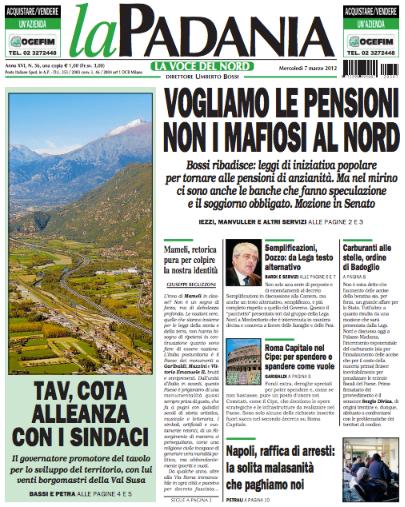 IL CORRIERE DELLA PERA - Seconda edizione - Pagina 39 La+Padania+censura+Boni+-+Nonleggerlo