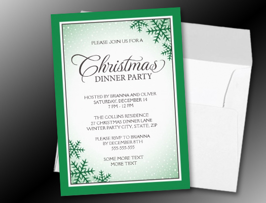 Green snowflakes and snow Christmas dinner party invitations