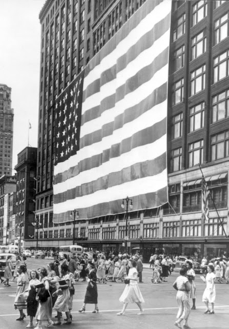 U.S. Flag Displayed at Hudson's Department Store in Downtown Detroit, 1956.  Courtesy of James C. Ritchie Fine Arts Photography