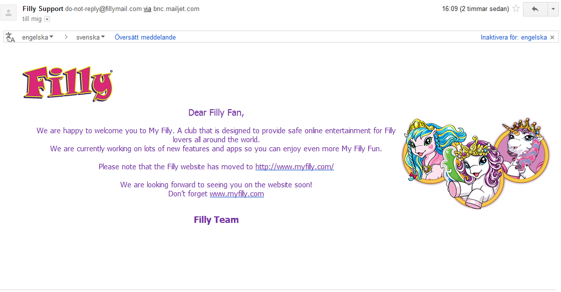email informing of filly's new domain