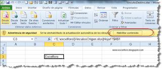 Actualizar vínculos en Excel.
