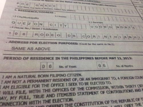 Grace Poe certificate of candidacy