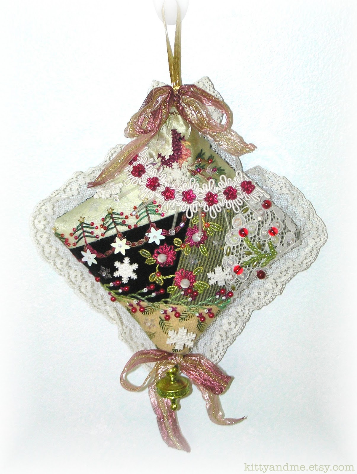 Kitty And Me Designs: Crazy Quilt Christmas Ornaments