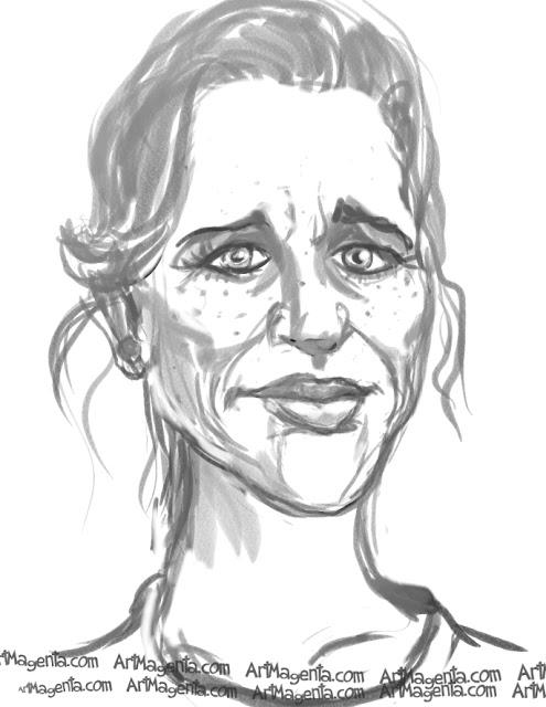 Liv Ullmann caricature cartoon. Portrait drawing by caricaturist Artmagenta.