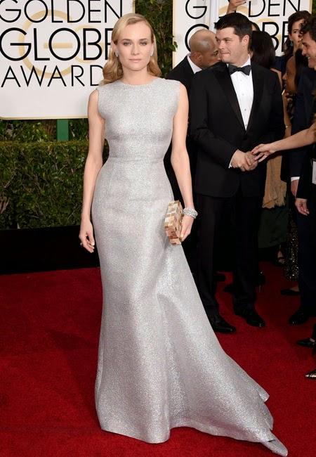 Даян Крюгер в сребърна рокля на наградите Златен глобус 2015