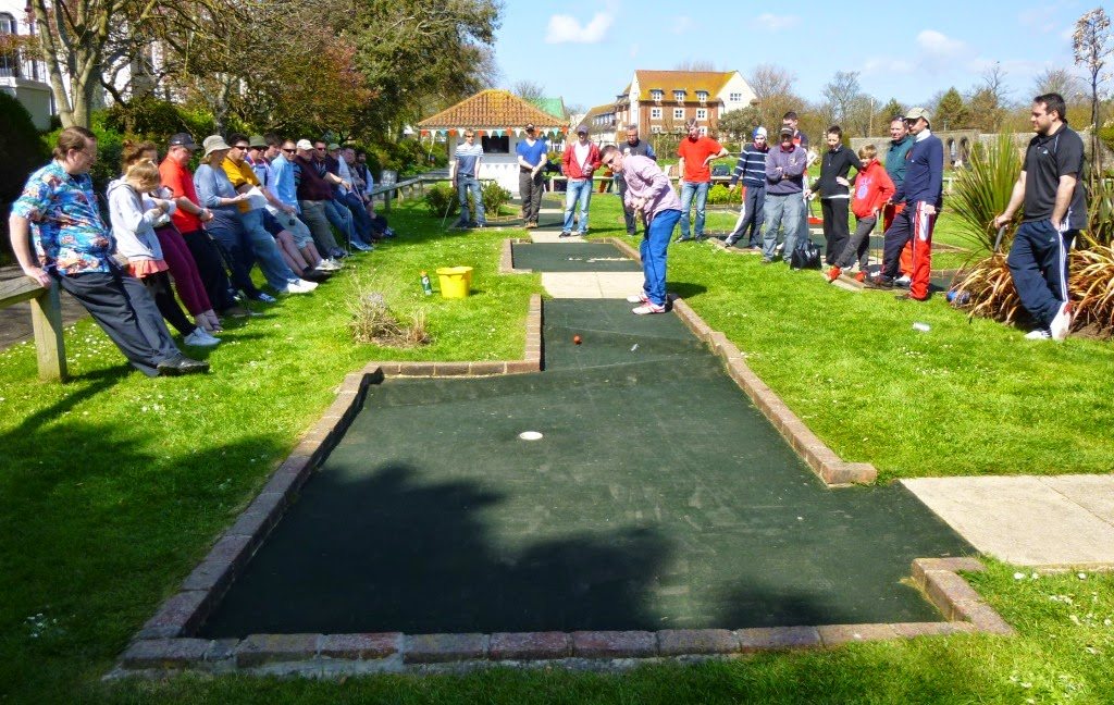 Minigolfer Richard Gottfried playing at Splash Point Mini Golf course in Worthing during the British Masters last season
