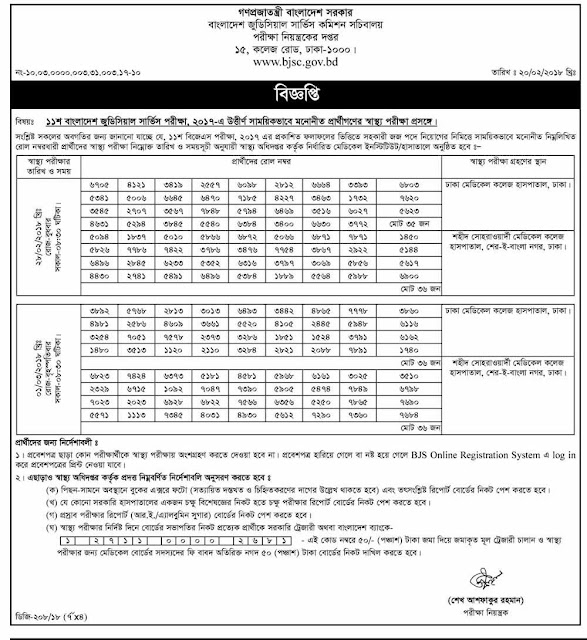 Bangladesh Judicial Service Commission Job Exam Result 2018