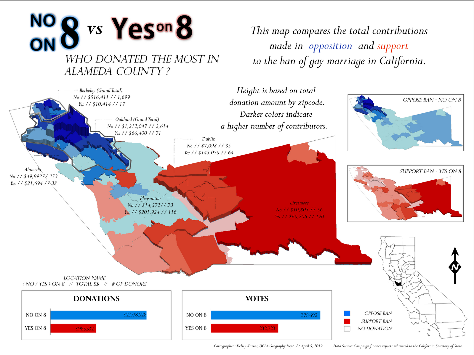 the donation and voting data show that sacramento county is predominantly against marriage equality the largest amount of money donated to no on 8