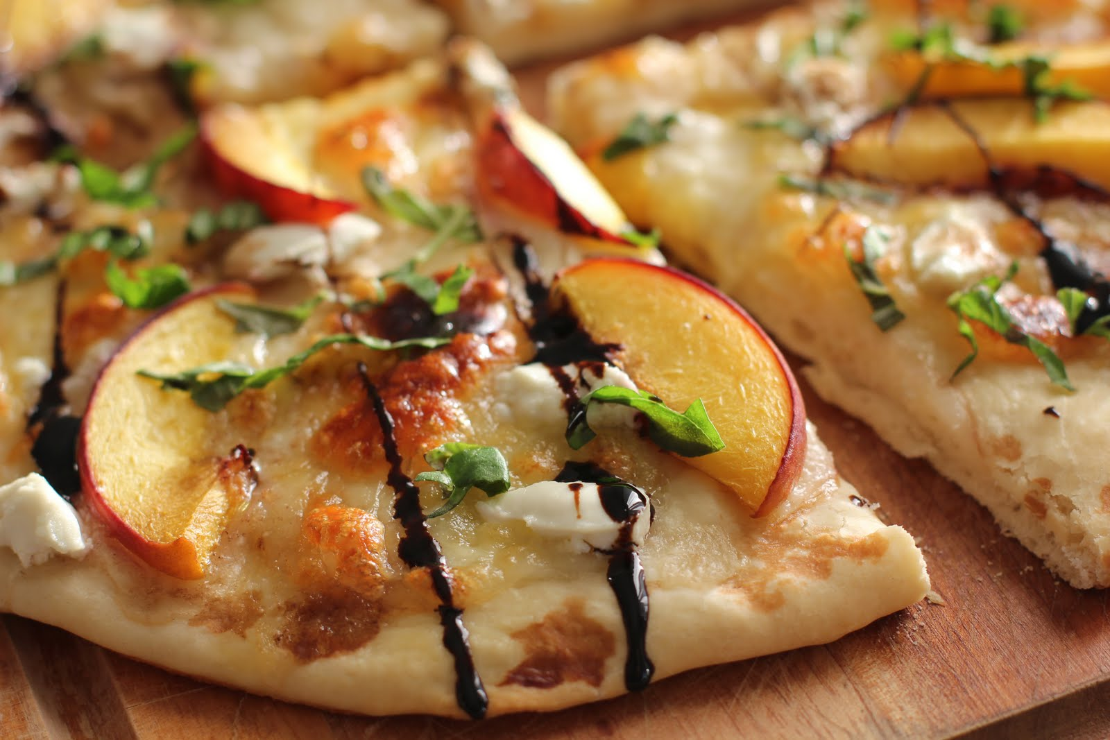 Summer peach and balsamic pizza , recipe found on Love and Olive Oil ...