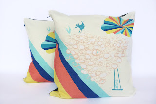 strobes, neon, cushions, pillow, brights, coral, ultramarine, blue, mint, teal, circus cushions, circus pillow, trapeze, bird, linen cushion, zipper pillow, print, original, original print, screenprint, pattern, design