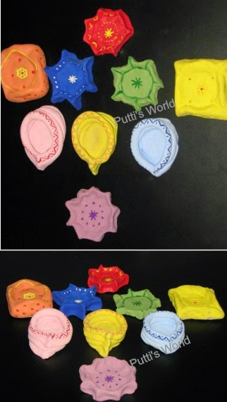 Kids Craft DIY Clay Lamps for Diwali