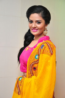 Sri Mukhi in Lovely Pink Choli and Ghaghra Spicy Pics