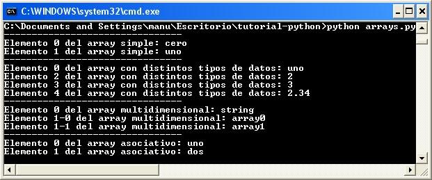 Arrays en Python