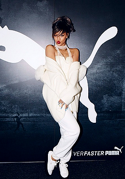 rihanna puma fashion designer all white germany pearls